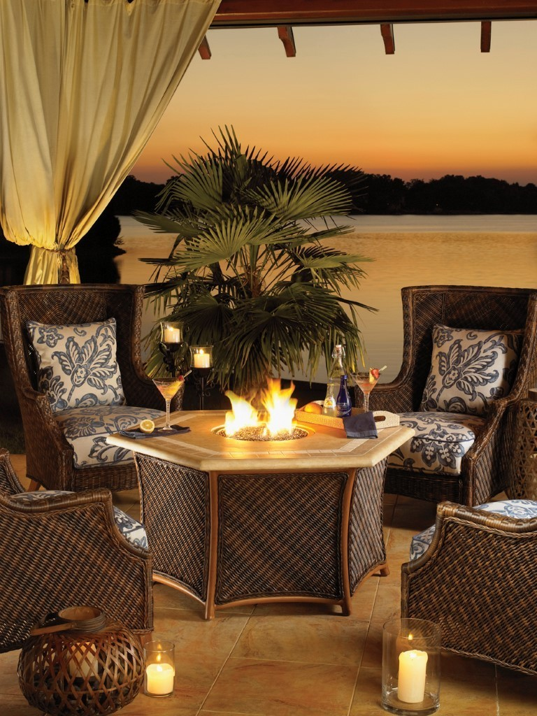 Tommy Bahama royal island lanai fire pit and chairs
