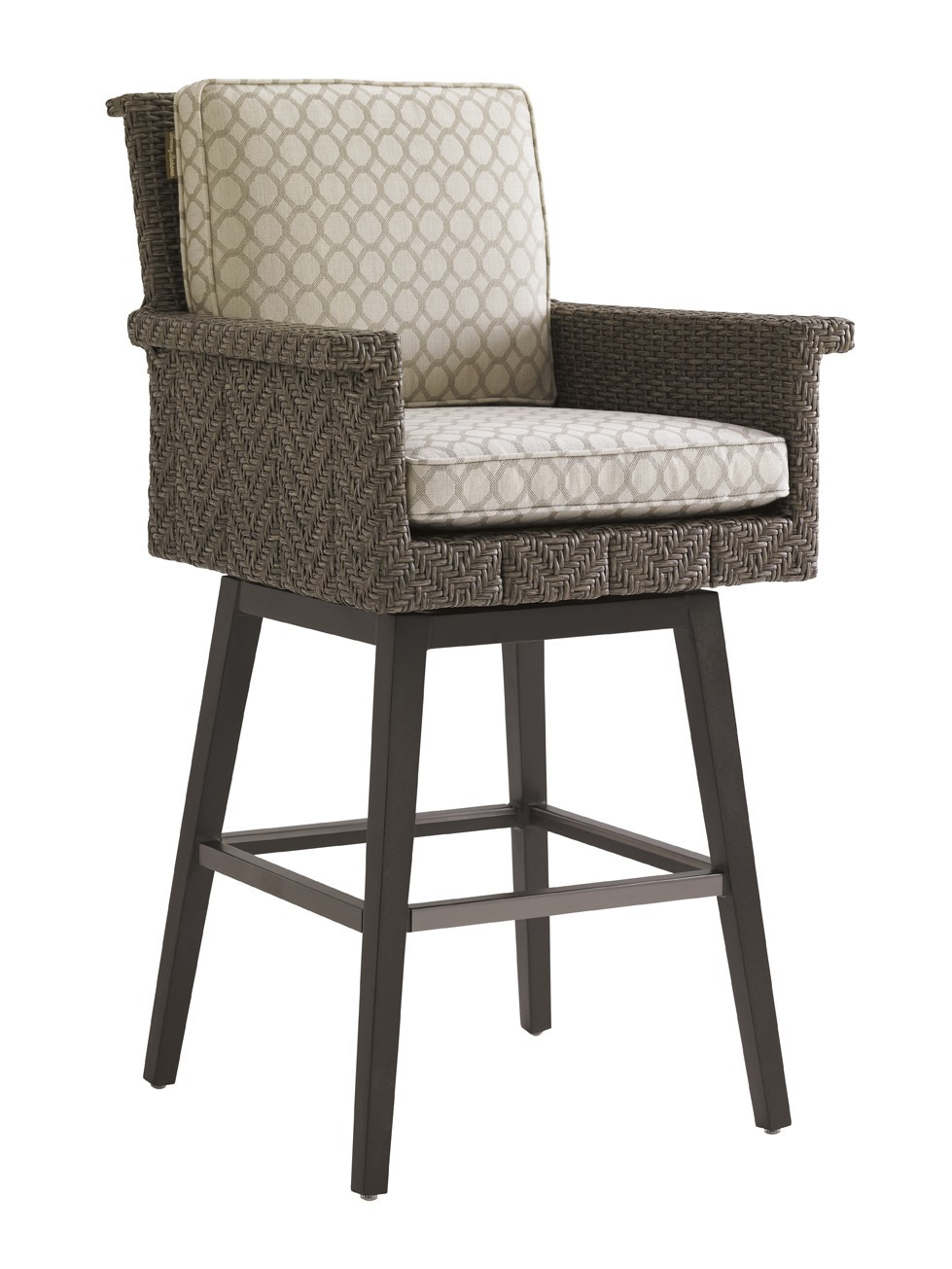 Blue olive swivel bar stool frame hauser s patio