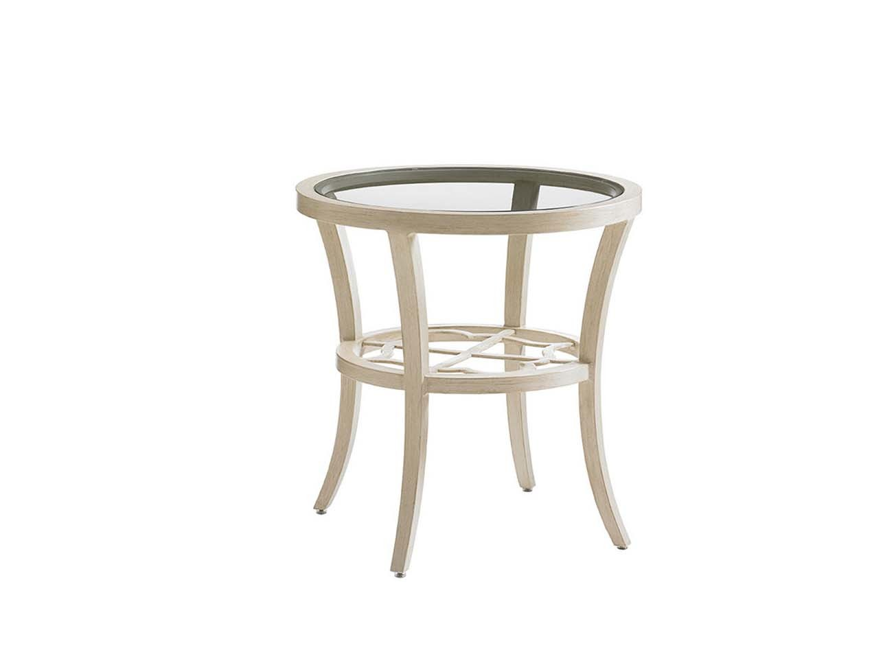 Misty Garden Round End Table With Inset Glass Top Hauser