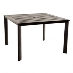 "Gios Aluminum Slatted Top Dining Table With 2"" Umbrella Hole 45"" Square"