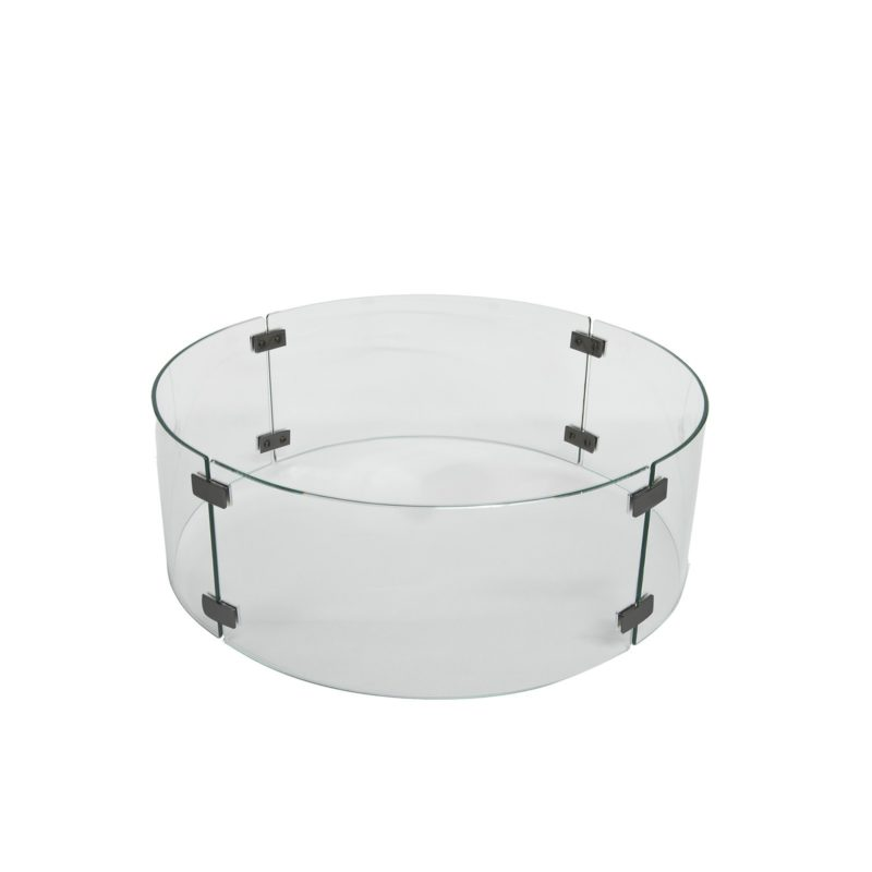 """Fire Pit Accessories Small Round Glass Fire Guard fits 20"""" Round Burner"""