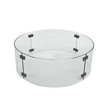 "Fire Pit Accessories Large Round Glass Fire Guard fits 24"" Round Burner"
