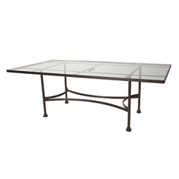 "Classico-W Glass Top Dining Table With 2"" Umbrella Hole- 84"" w x 44"" d x 28"" h"