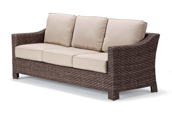 Lake shore wicker three seat sofa hauser 39 s patio for Sofa rattan jardin