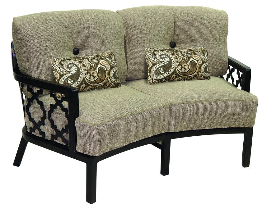 Belle Epoque Cushion Crescent Loveseat W Two Kidney Pillows