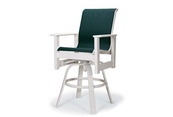 Leeward Sling Balcony Height Swivel Arm Chair