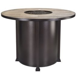 """Santorini Iron 54"""" Round Counter Height Fire Pit With Hammered Edge"""