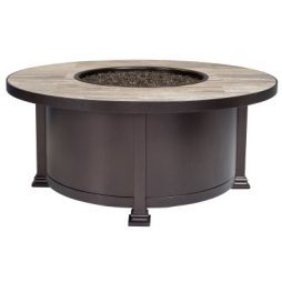 """Santorini Iron 42"""" Round Occasional Height Fire Pit With Hammered Edge"""