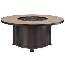 """Santorini Iron 54"""" Round Chat Height Fire Pit With Hammered Edge"""