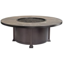 """Santorini Iron 54"""" Round Occasional Height Fire Pit With Hammered Edge"""