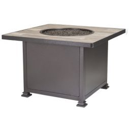"""Santorini Iron 36"""" Square Chat Height Fire Pit With Hammered Edge"""