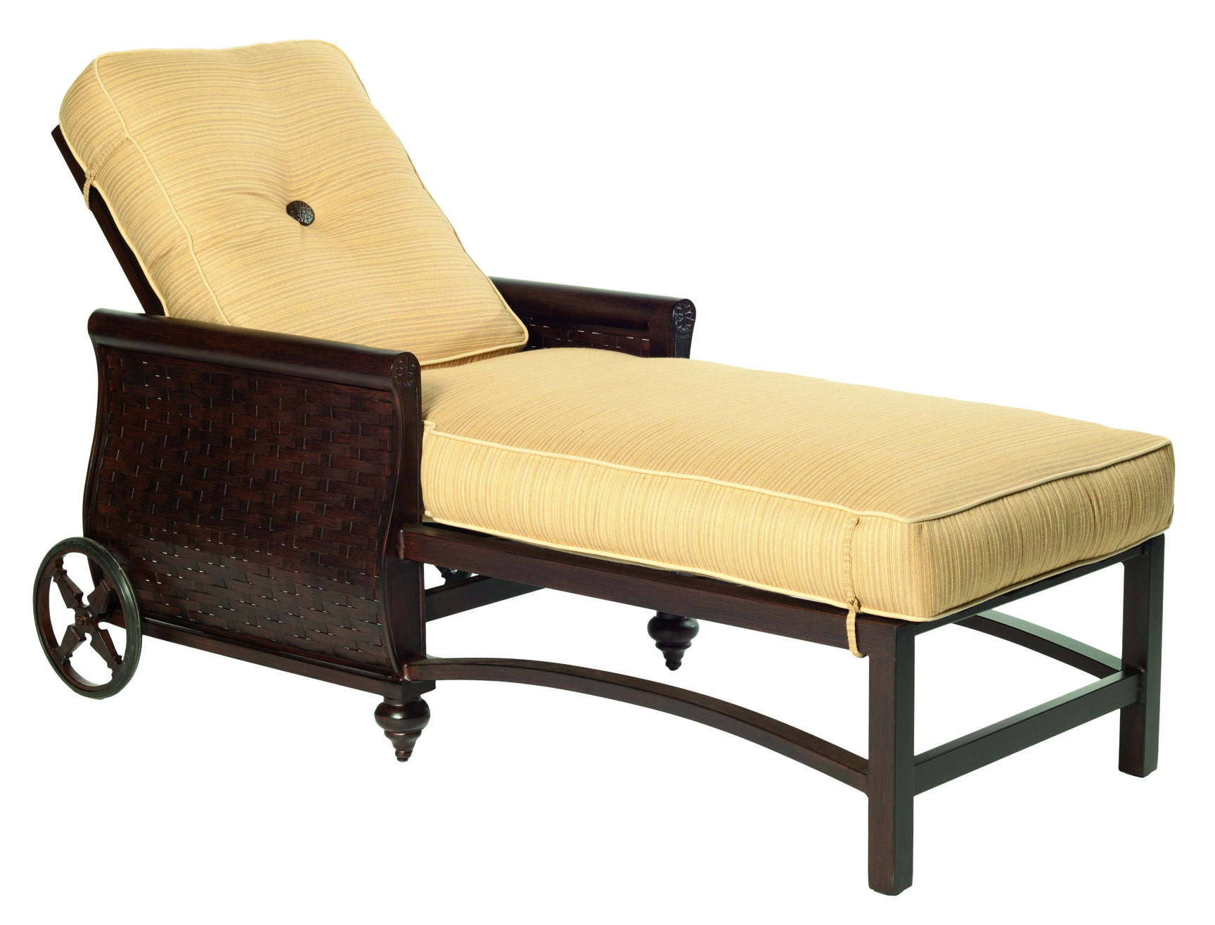 French Quarter Cushion Adjustable Chaise Lounge W Wheels
