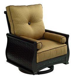 French Quarter Cushion High Back Lounge Swivel Rocker w/ Two Bolster Pillows