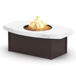 "Aurora Icon Series Chat Height Aurora Icon Fire Table With 32""X52"" Eye-Shaped Icon Top"