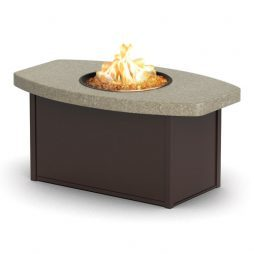 """Aurora Stonegate 19"""" High Aurora Natural Fire Table With 32""""X52"""" Eye-Shaped Top"""