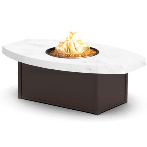 "Aurora Icon Series Chat Height Aurora Icon Fire Table With 36""X60"" Eye-Shaped Icon Top"