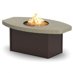 "Aurora Stonegate Chat Height Aurora Natural Fire Table With 36""X60"" Eye-Shaped Top"