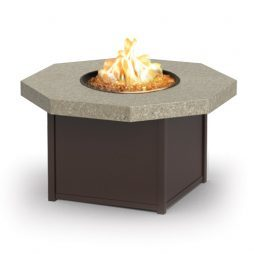 """Aurora Stonegate 19"""" High Aurora Natural Fire Table With 42"""" Octagon Stonegate Top"""