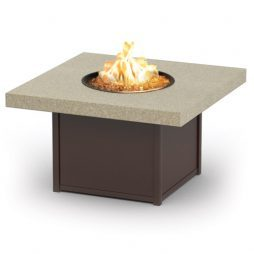"""Aurora Stonegate 19"""" High Aurora Natural Fire Table With 42"""" Squareuare Stonegate Top"""