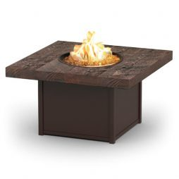 """Aurora Timber 19"""" High Aurora Timber Fire Table With 42"""" Squareuare Timber Top"""