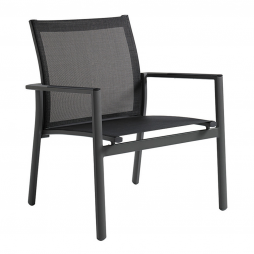 Gloster 475MC Azore Stacking Lounge Chair Meteor Frame and Charcoal Sling