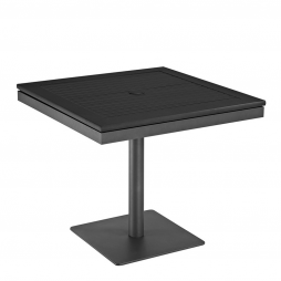 """Gloster 5497T Azore 34"""" Square Pedestal Table w/Black Aluminium Slatted Top Tungsten Frame"""