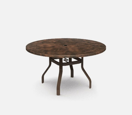Hammered metal 52 round balcony table w hole hauser 39 s for Table 52 2016