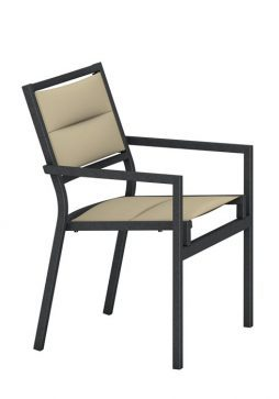 Cabana Club Aluminum Padded Sling Dining Chair Low-Back