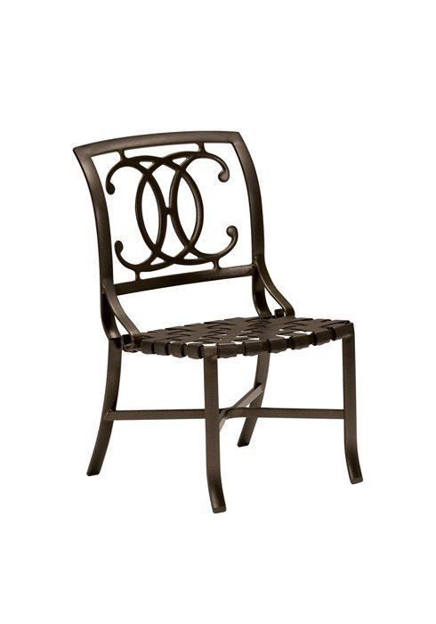 Tropitone Patio Chairs: Palladian Double-C Back Strap Seat Side Chair