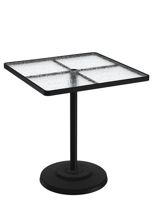 Bar Table Square Pedestal Acrylic With Umbrella Hole Hausers - Square pedestal pub table