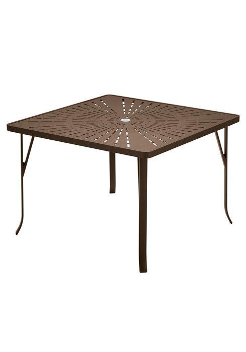 """Tropitone Patio Chairs: Dining Table 42"""" Square La'Stratta Pattern With Umbrella"""