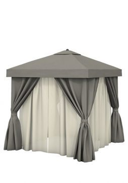 Aluminum Cabana 8' Square With Fabric Curtains & Sheer Curtain Rods (Vented)