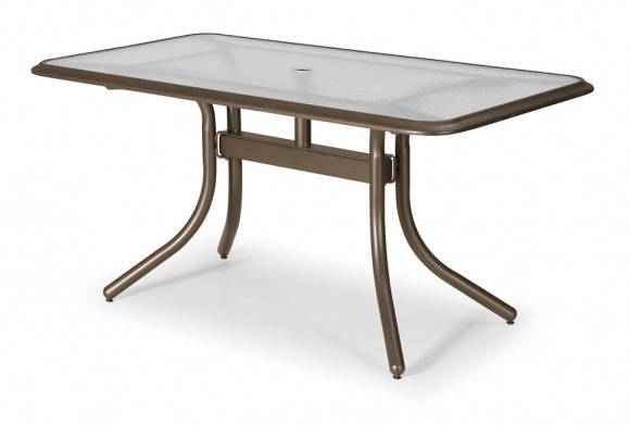 "60 Rectangular Glass Top Dining Table: 32"" X 60"" Rectangular Dining Table (with Umbrella Hole"