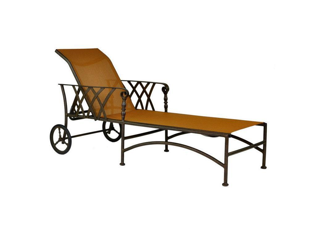 Veranda Sling Adjustable Chaise Lounge W Wheels Hauser
