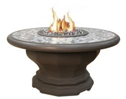 Inverted Fire Table w/ Earth-Tone Pebble Top