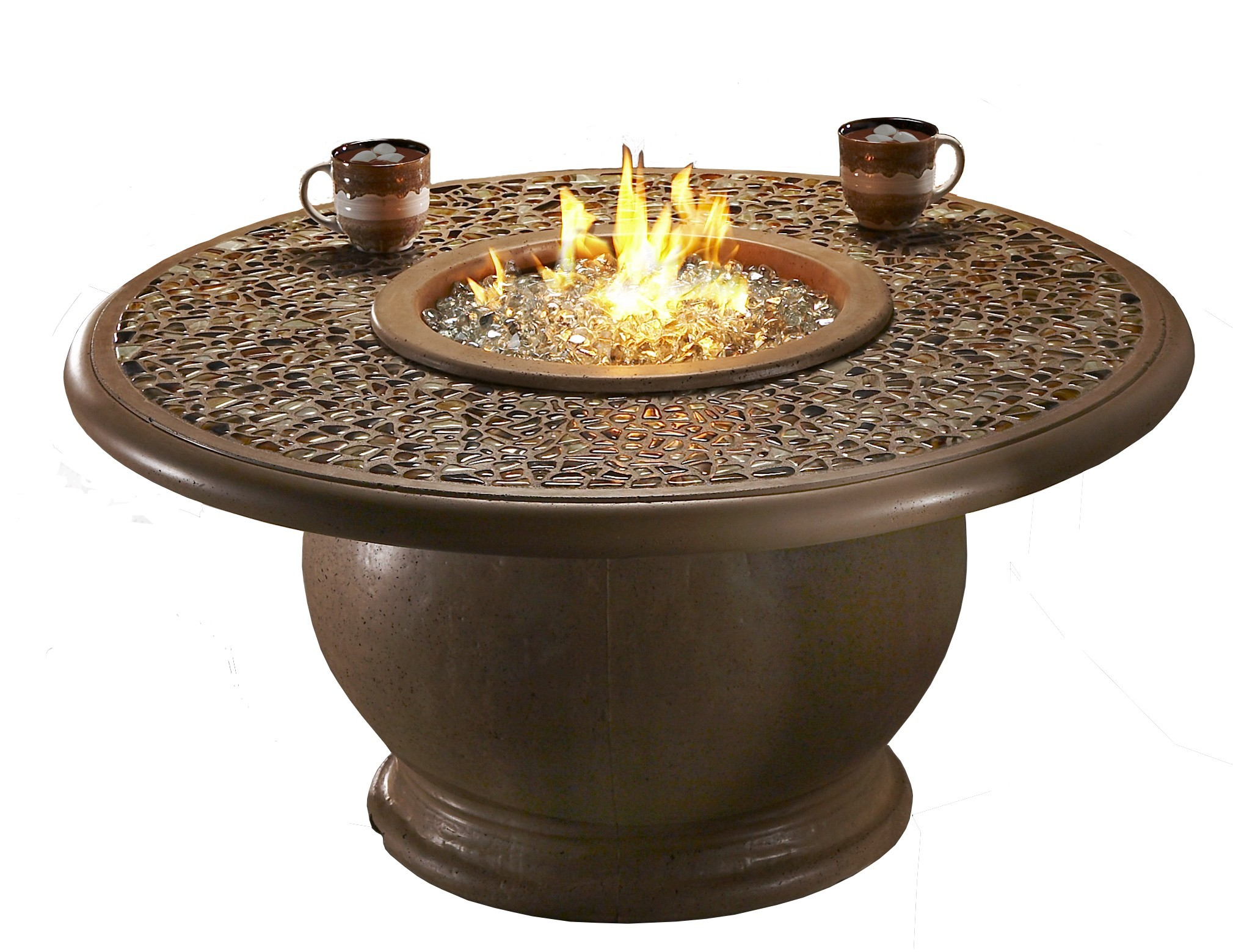 Amphora Fire Table W Earth Tone Pebble Top Hauser S Patio