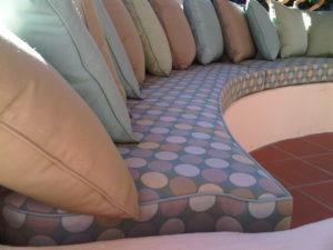 Custom bench cushion follows the contour of the bench