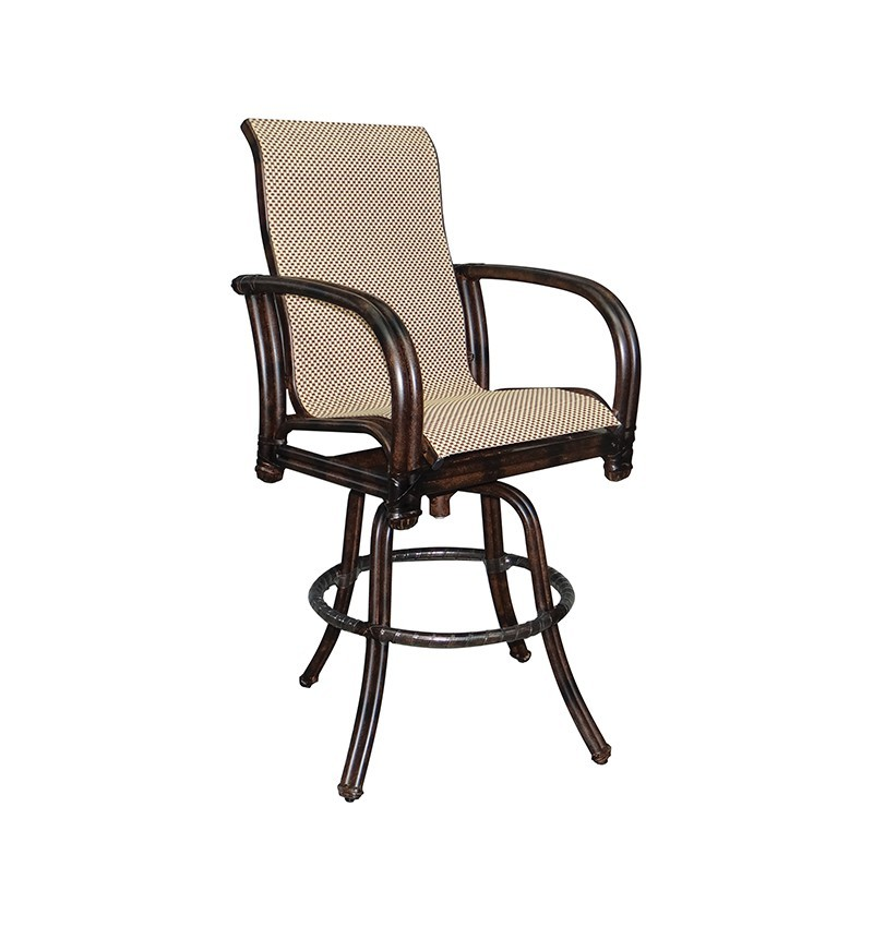 Meridian High Back Sling Swivel Bar Stool Hauser S Patio