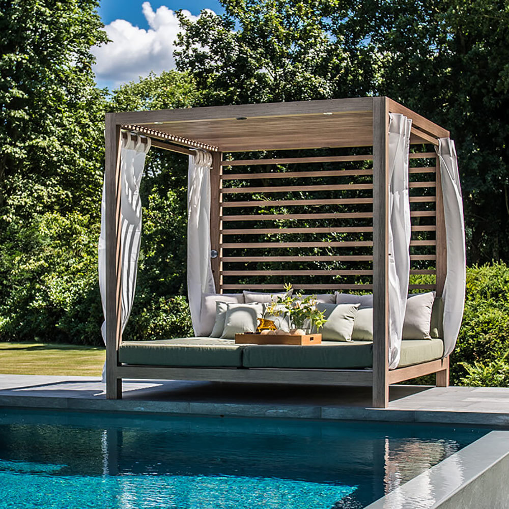 Tuuci for dual cantilever umbrellas loungers cabanas and for Outdoor pool cabana
