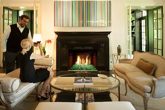 elegant gas fireplace in living room