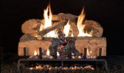 gas fireplace charred logs