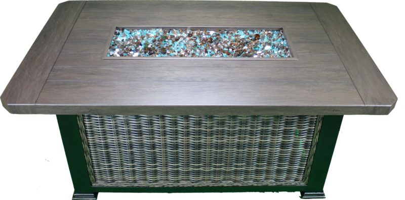 fire table with glass