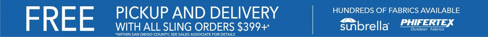 FREE Delivery and Setup with Sling Order of $399 or more